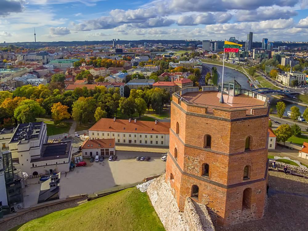 Aerial view of Gediminas Castle, Vilnius, Lithuania