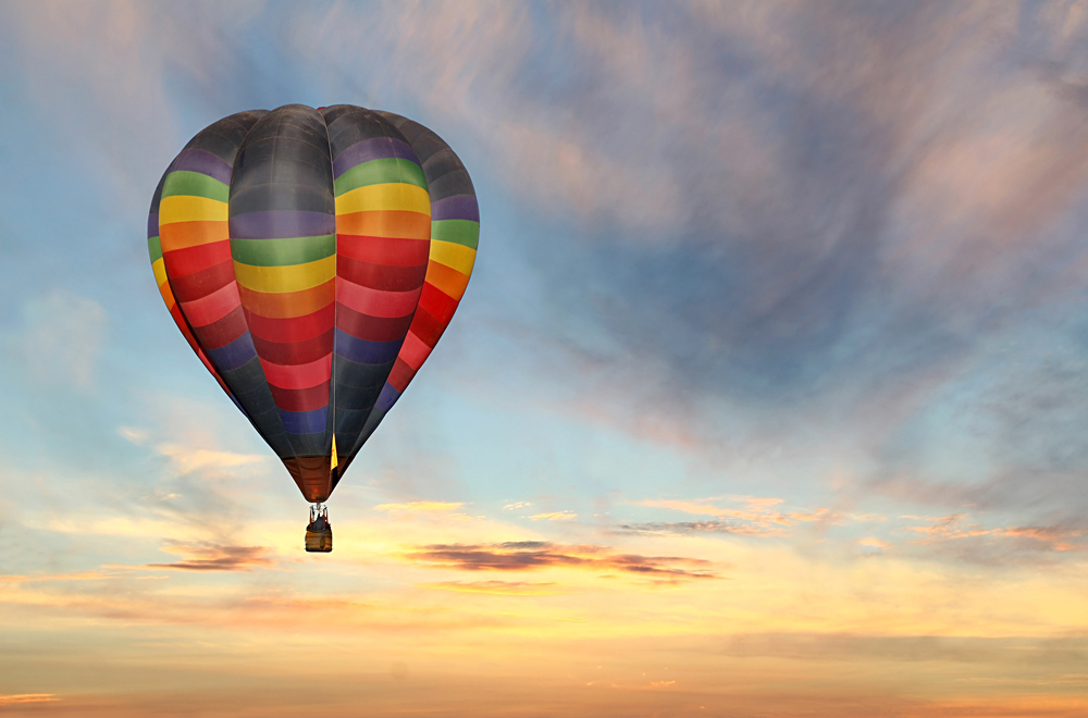 Colourful Hot Air Balloon in the Sunrise Sky