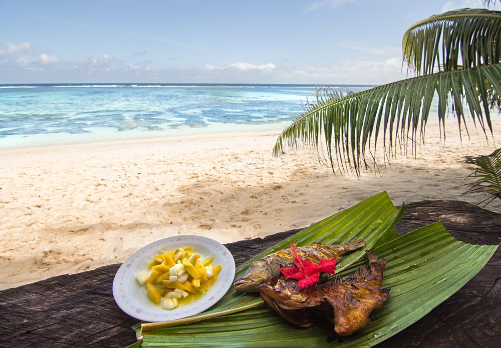 Creole inspired red snapper and mango salsa, Anse Source D'argent beach, Seychelles
