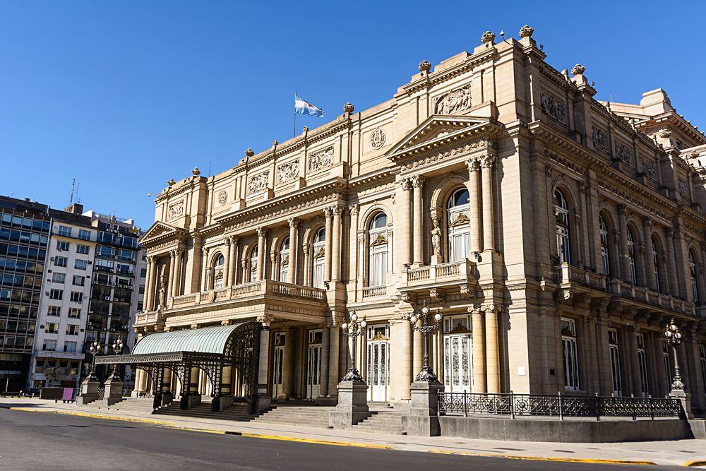 Facade of the Teatro Colon in Buenos Aires, Argentina