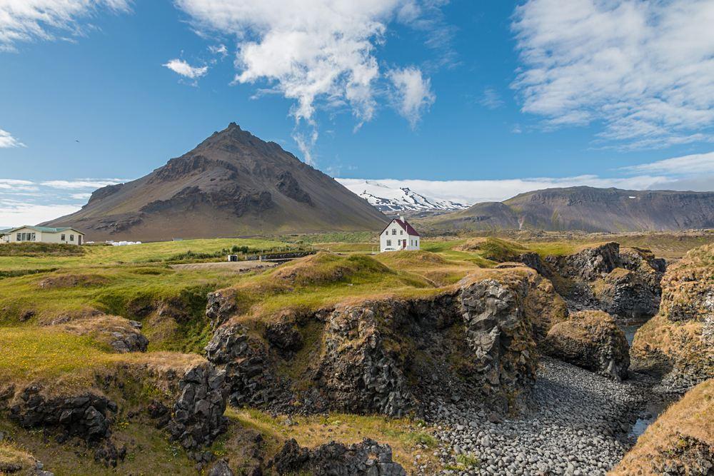 Famous building under the Snaefellsjokull volcano and glacier in Arnarstapi, Snaefellsnes Peninsula, Iceland