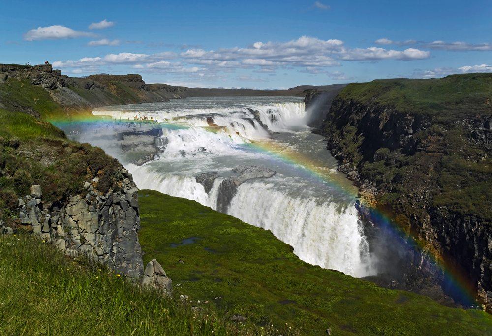 Gulfoss Falls and rainbow, Iceland
