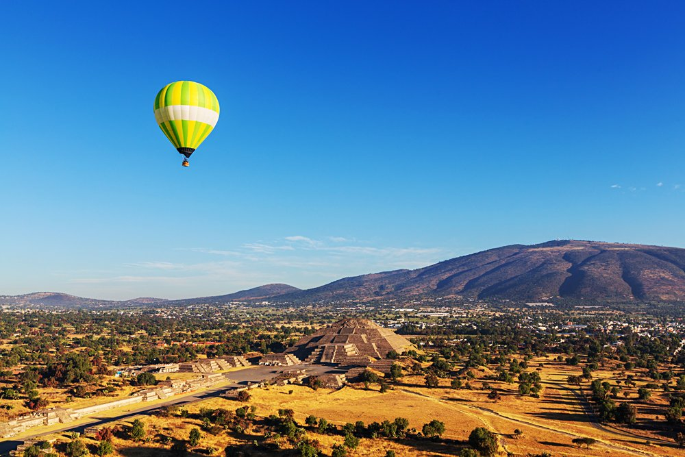Hot Air Balloon Over Pyramid of the Sun in Teotihuacan, Mexico