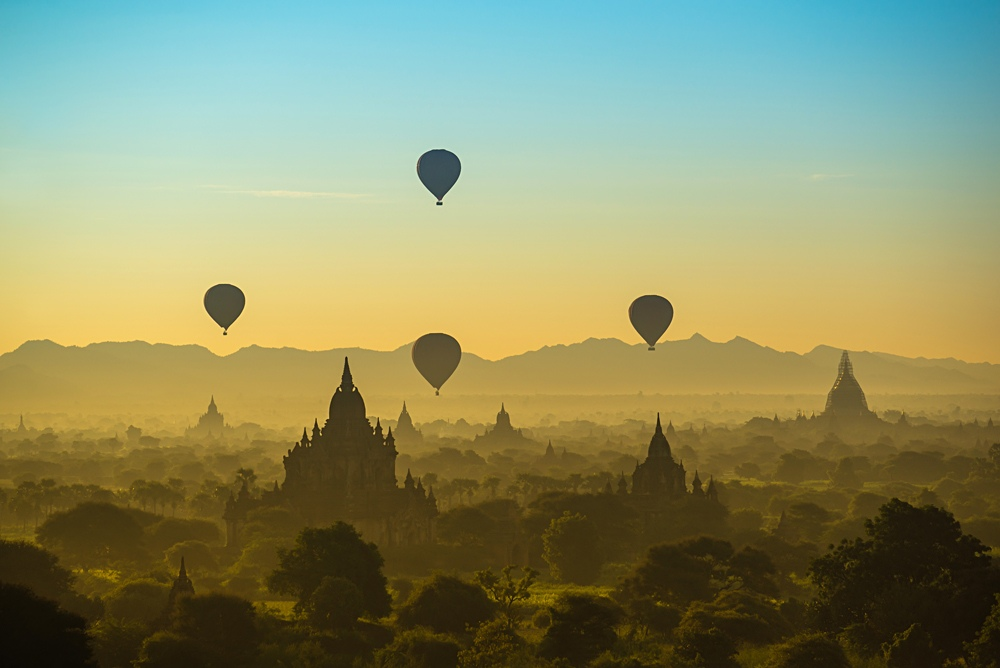 Hot Air Balloons over Pagodas in Bagan in the Morning, Myanmar