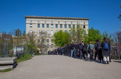 Line up of people waiting to get into the Berghain, one of the most exlclusive clubs, Berlin, Germany