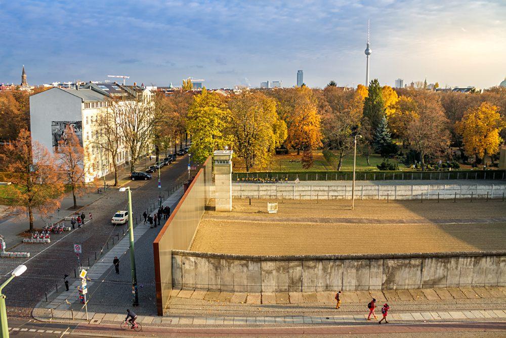 Mauerpark with part of Berlin Wall on Bernauer street, Berlin, Germany