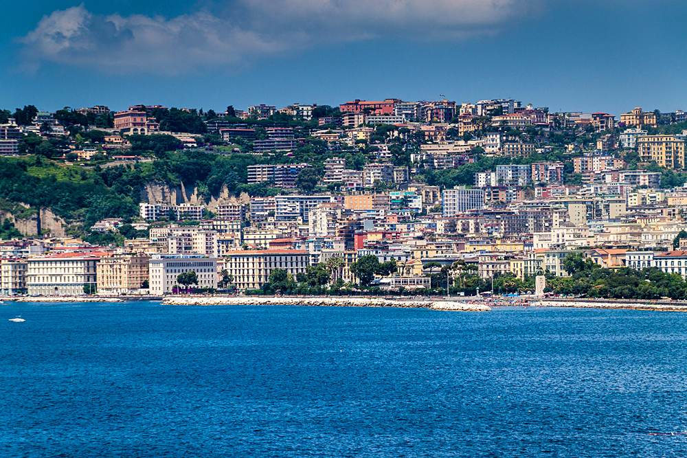 Mediterranean Sea coast in Naples, Italy