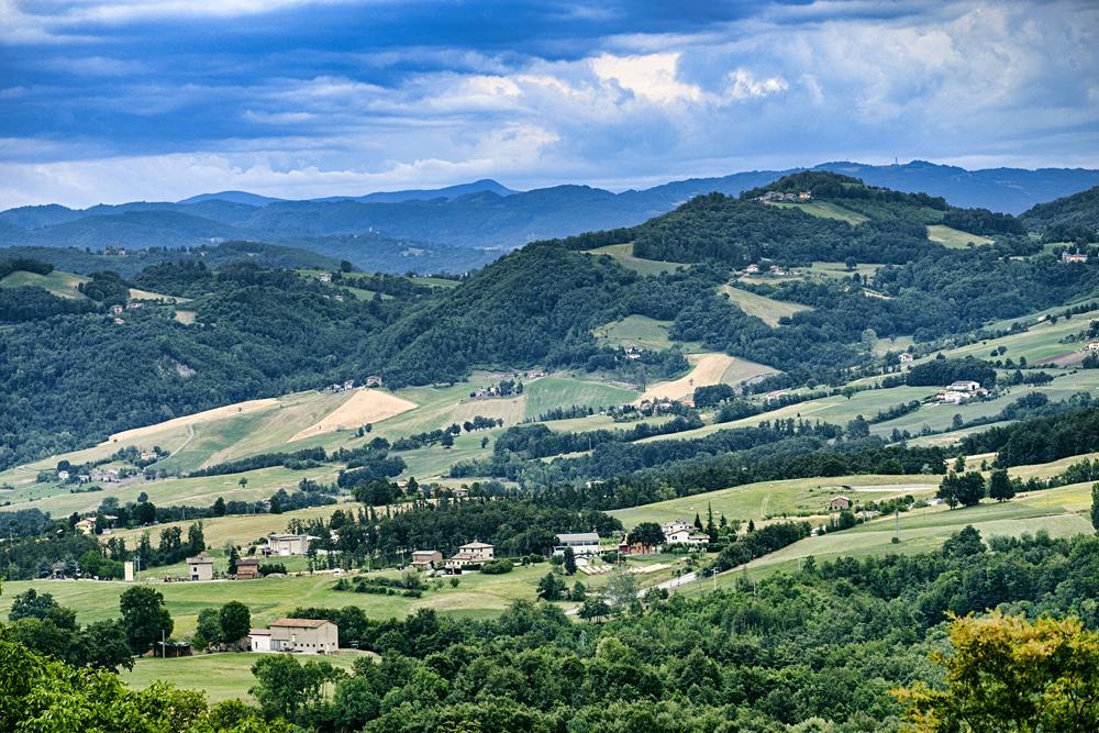 Summer landscape along the road from Serramazzoni to San Dalmazio at summer, Emilia Romagna, Italy