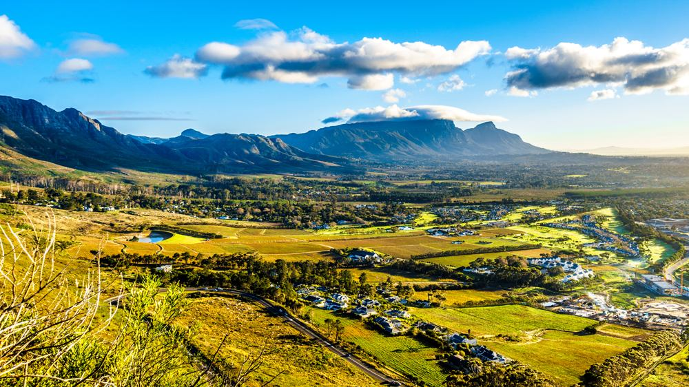 Sunrise over the Western Cape with Cape Town and Table Mountain viewed from the Ou Kaapse Weg, South Africa