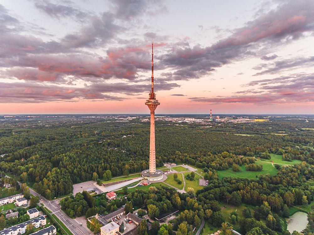 Tallinn TV Tower on summer evening at sunset, Estonia