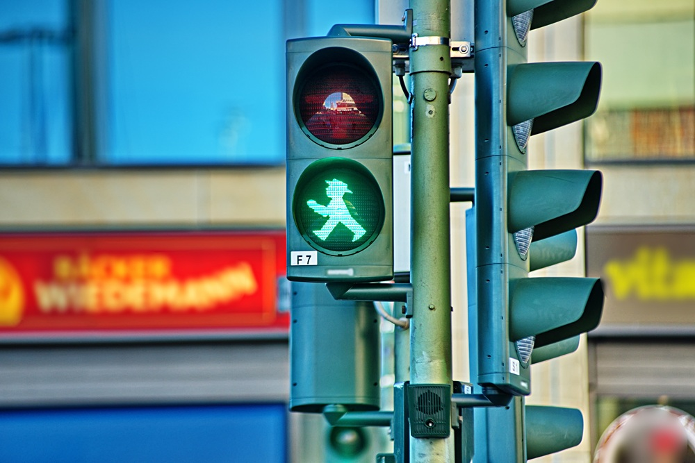 Traffic light with Ampelmannchen, Berlin, Germany