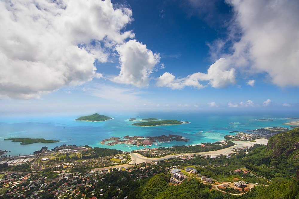 View from top of Mahe Island while hiking Copolia Trail, Seychelles Islands