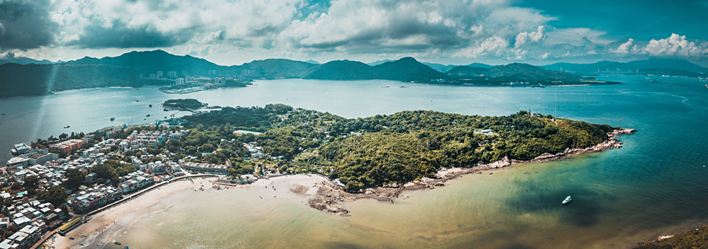 Aerial View of Peng Chau Island, Hong Kong
