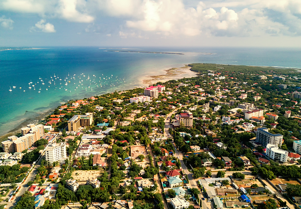 Aerial View of Tanzania's East Coastline, Tanzania