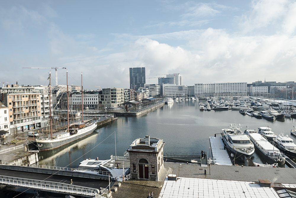 Aerial view of Antwerp harbor from museum MAS roof terrace, Belgium
