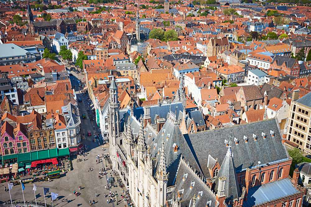 Aerial view of Big Market Square and Stadhuis, Bruges, Belgium
