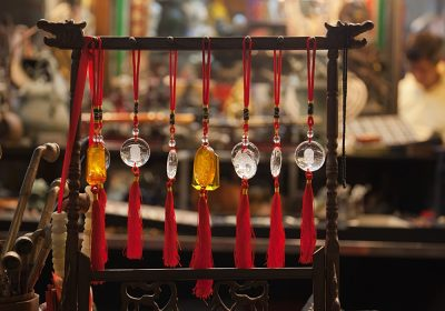 Amulets for sale in Cat Street Market, Hong Kong