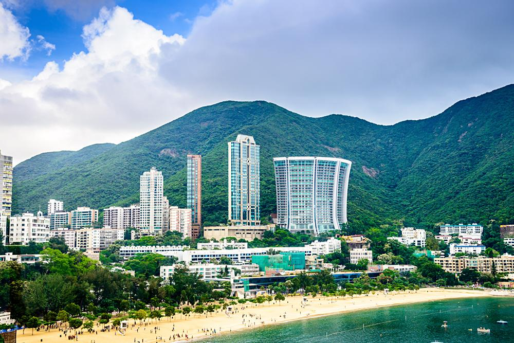 Beachfront skyline at Repulse Bay, Hong Kong