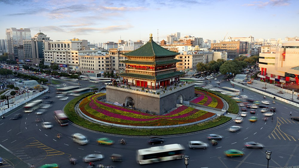 Bell Tower, city landmark in the heart of Xian, China