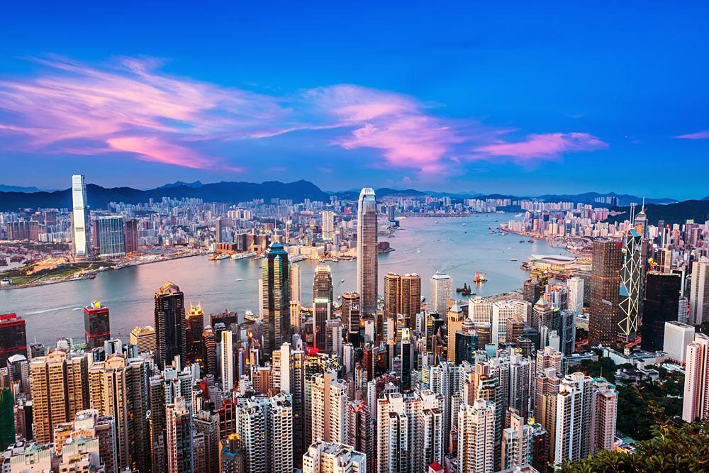 Hong Kong city at sunset