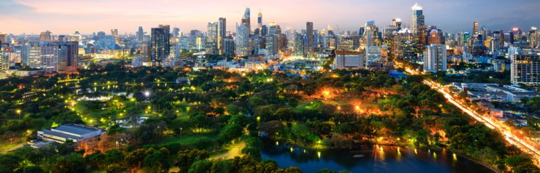 Lumpini Park at twilight, Bangkok, Thailand