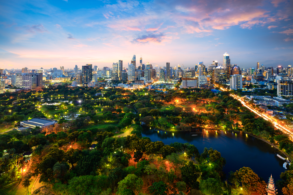 Lumpini Park at twilight, Bangkok, Thailand