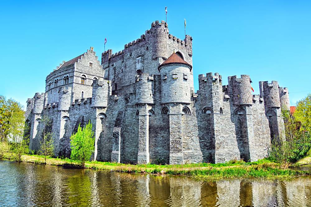 Medieval Gravensteen Castle (Castle of the Counts) in Ghent, Belgium