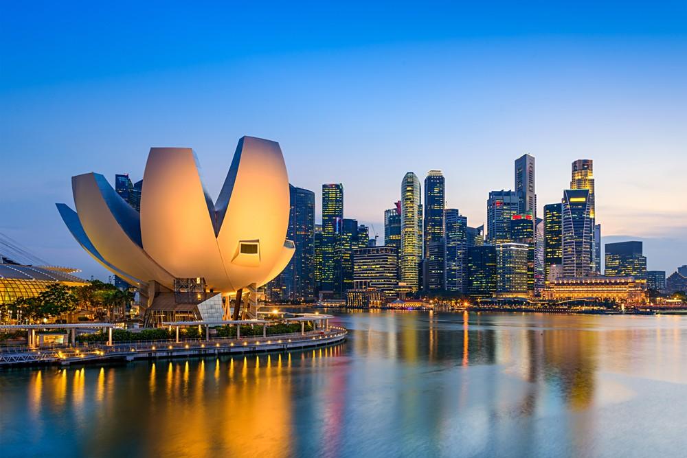 Skyline at the Marina during twilight, Singapore