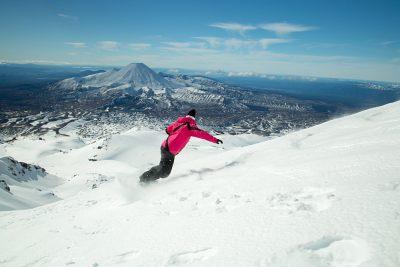 Snowboarding on Mount Ruapehu volcano, Tongariro National Park, New Zealand