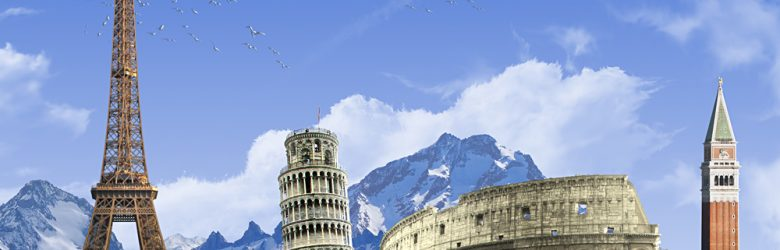 Summer travel across Europe - famous landmarks and grassy hill over blue sky