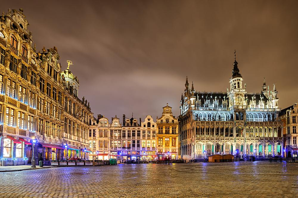 The Grand Place or Grote Markt with the Breadhouse in the central square of Brussels, Belgium