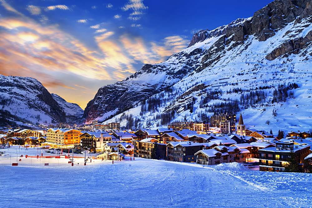Val d'Isere at sunset, Tarentaise Valley, French Alps, France