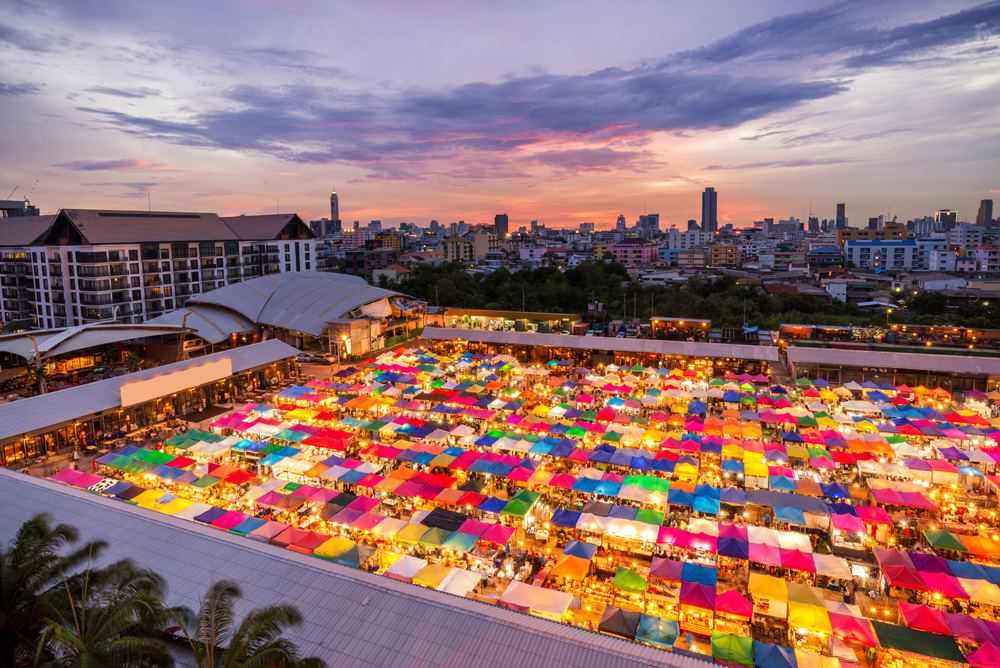View of Chatujak Weekend Market rooftops, Bangkok, Thailand