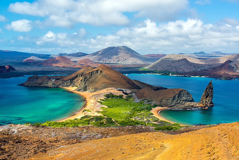 View of two beaches on Bartolome Island in the Galapagos Islands, Ecuador