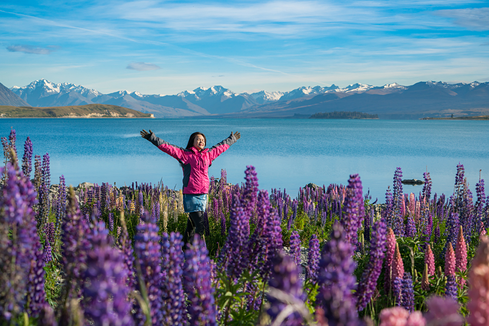 Woman traveller at lake Tekapo in the summer, New Zealand