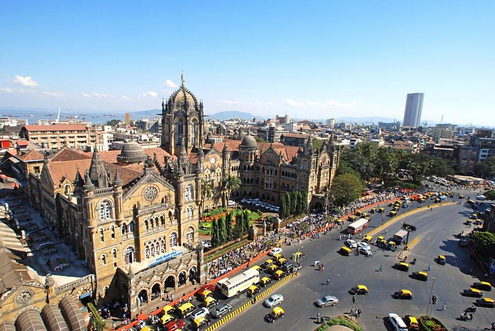 Aerial view of Chatrapati Shivaji Terminus formerly Victoria Terminus, headquarters for India's Central Rail, Mumbai, India