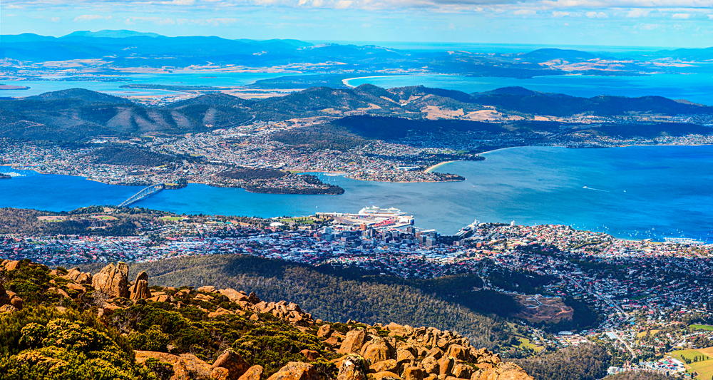 Aerial view of Hobart City and its vicinity from the Mount Wellington peak, Tasmania, Australia