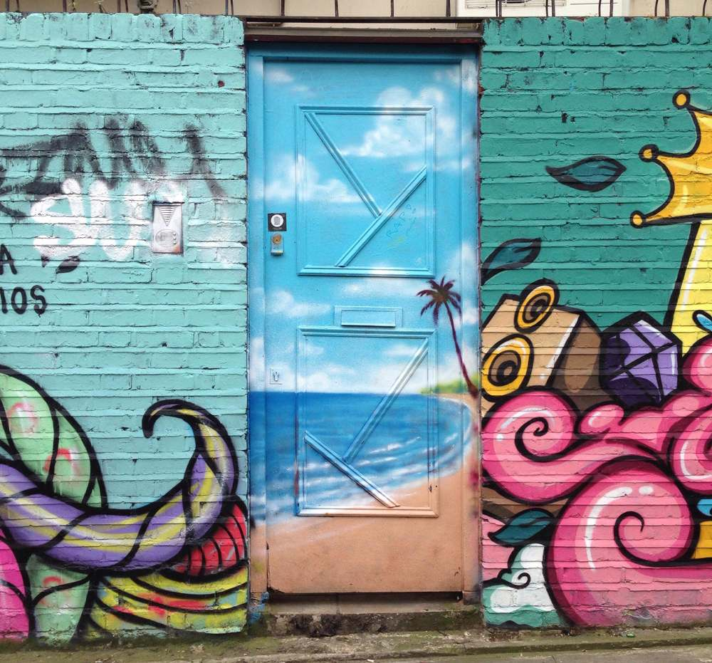 Funky painted door in Shoreditch, London, England, UK (United Kingdom)