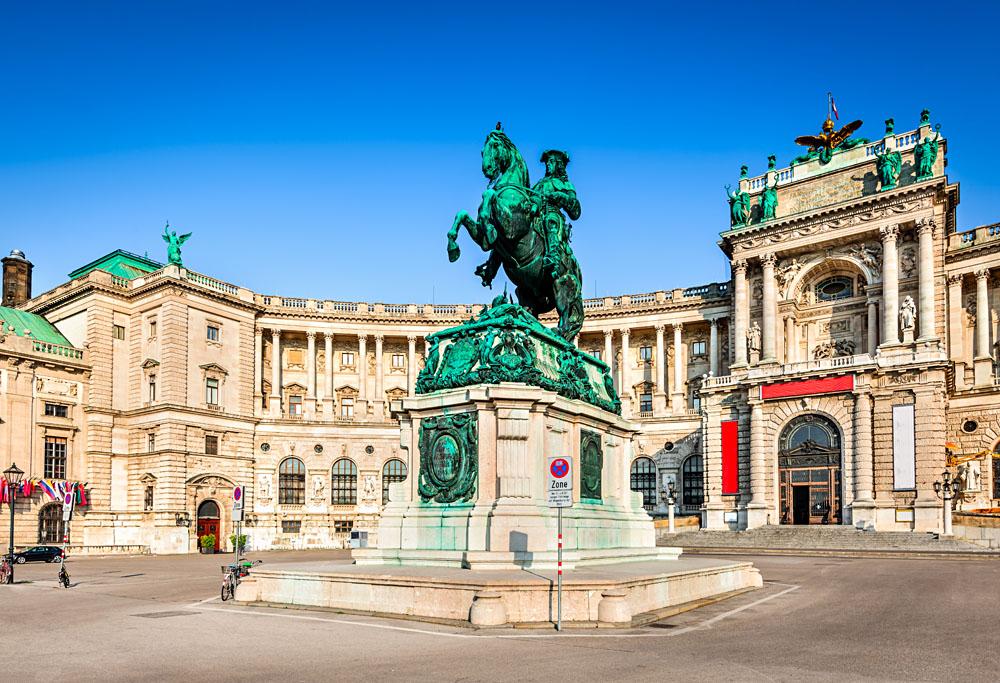 Heldenplatz Square at Hofburg Palace in Wien, Vienna, Austria