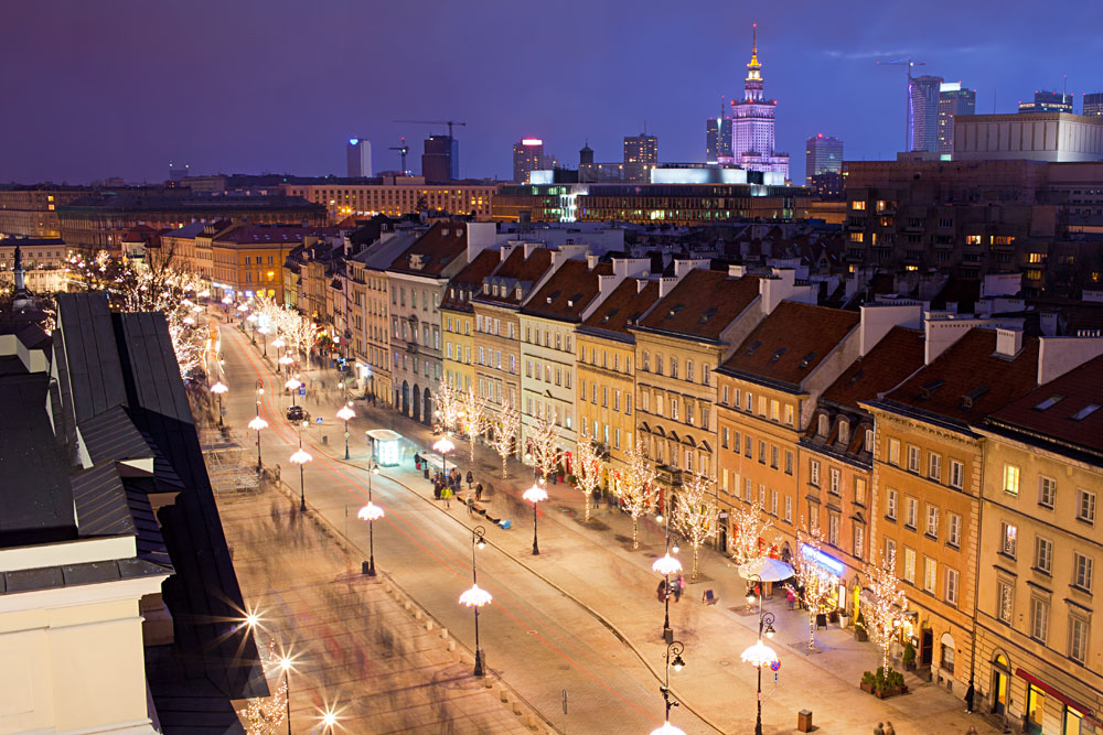 Krakowskie Przedmiescie street at night, part of the Royal Route in the city of Warsaw, Poland
