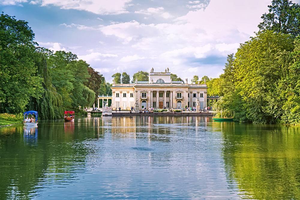 Lazienki Park and Myslewicki Palace in Warsaw, Poland
