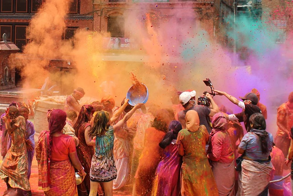 Locals Celebrating Holi Festival, India Nepal