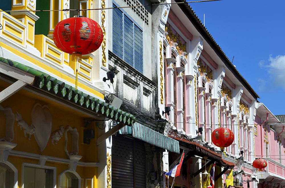 Multicolored Sino-Portuguese facades in Soi Romanee, in Phuket Old Town, Thailand
