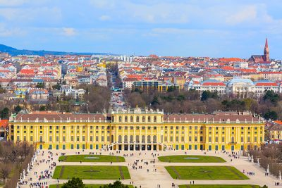 Schonbrunn Palace aerial view and Vienna panoramic skyline background, Austria