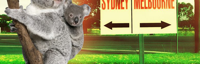 Sign Halfway between Sydney and Melbourne, Australia with Koalas - Cropped