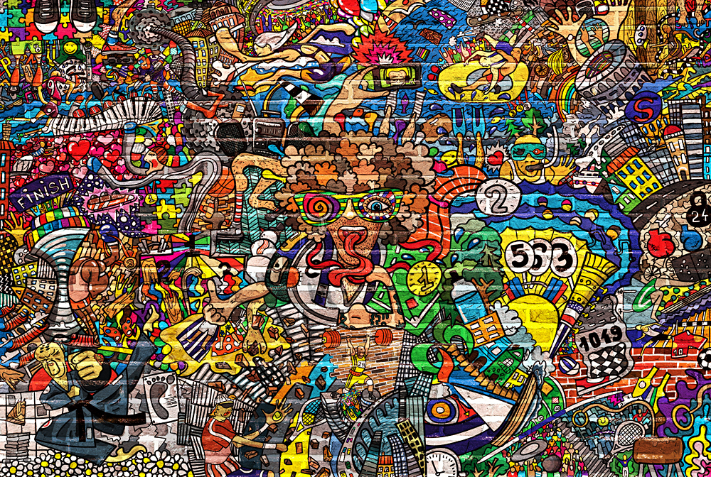 Sports collage on a large brick wall, graffiti, street art