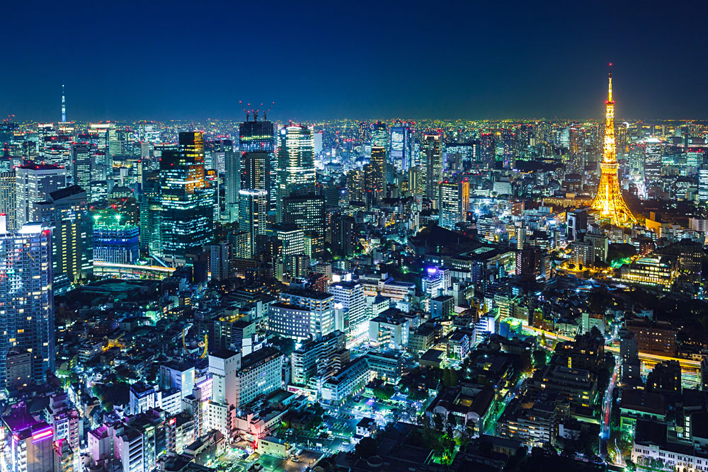 Tokyo skyline at night, Japan