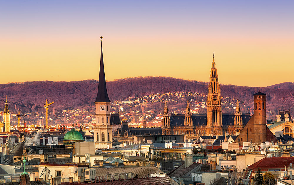 Vienna Skyline at Sunset, Austria