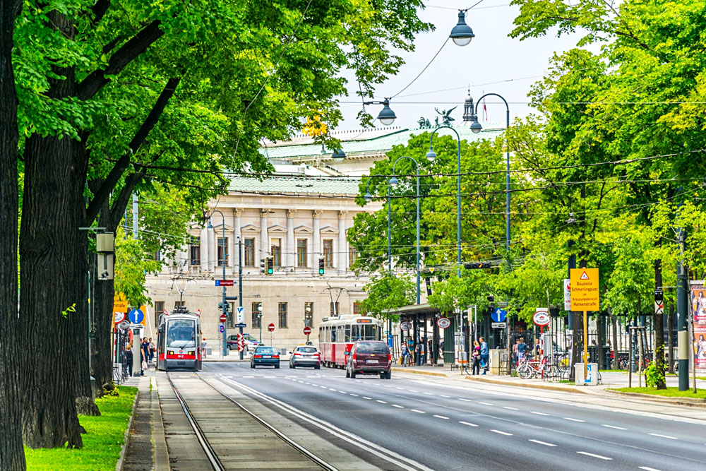 Wiener Ringstrasse with historic Parliament building in Vienna, Austria