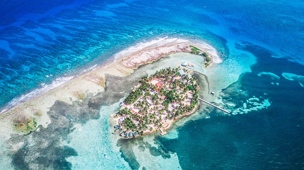 Aerial view of Tobacco Caye in Belize Barrier Reef, Belize